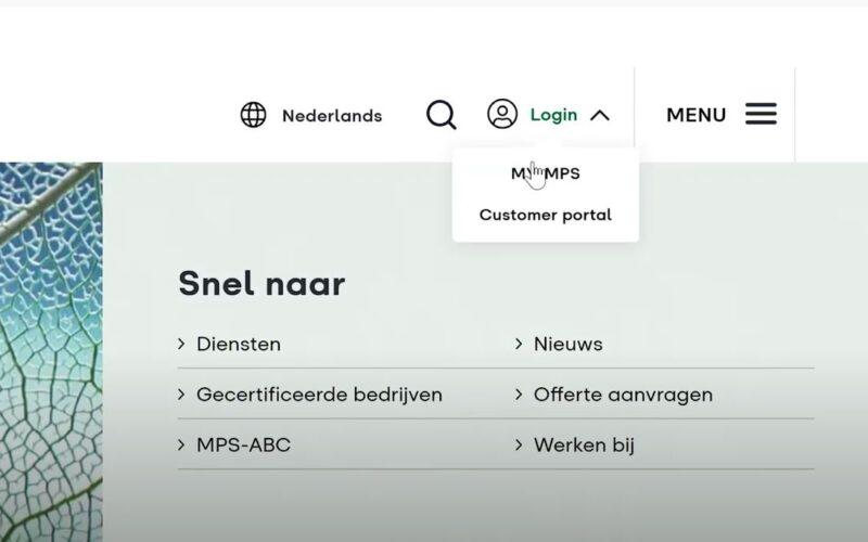 Inloggen Customer portal